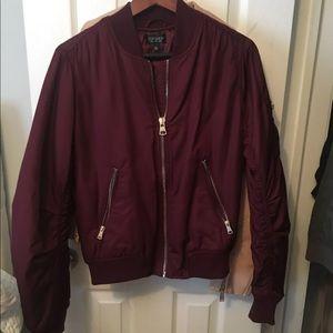 burgundy red topshop comber jacket